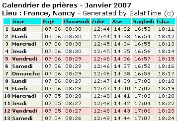 Calendrier Ramadan, le calendrier Islamique, calendrier Musulman. Heures de Salat dans le monde, Fajr (l'aube), Shuruq (lever du soleil), Zuhr (midi), Asr (après-midi), Maghrib (coucher du soleil) et Isha (nuit).